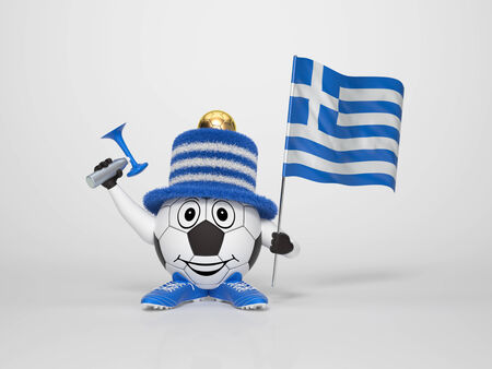 A cute and funny soccer character holding the national flag of Greece and a horn dressed in the colors of Greece on bright background supporting his team photo