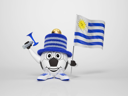 A cute and funny soccer character holding the national flag of Uruguay and a horn dressed in the colors of Uruguay on bright background supporting his team photo