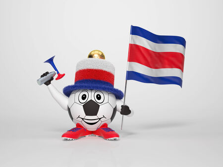 A cute and funny soccer character holding the national flag of Costa Rica and a horn dressed in the colors of Costa Rica on bright background supporting his team