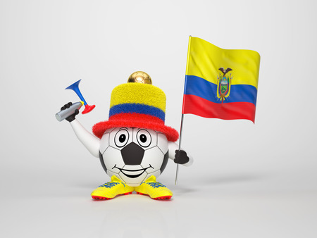 ecuador: A cute and funny soccer character holding the national flag of Ecuador and a horn dressed in the colors of Ecuador on bright background supporting his team