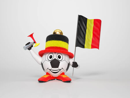 A cute and funny soccer character holding the national flag of Belgium and a horn dressed in the colors of Belgium on bright background supporting his team