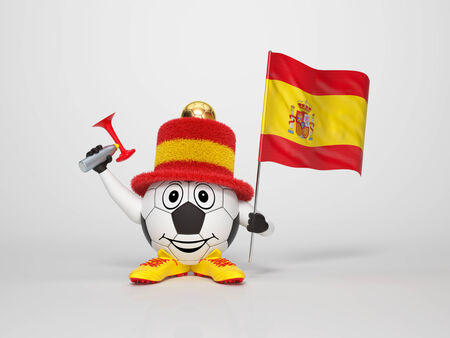 A cute and funny soccer character holding the national flag of Spain and a horn dressed in the colors of Spain on bright background supporting his team photo