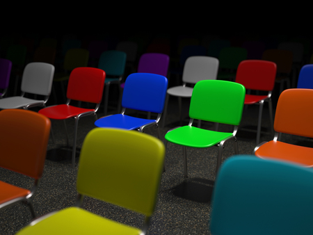 the heterogeneity: Many illuminated colorful chairs standing in a grid symbol for individuality and diversity