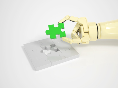Robot completes jigsaw puzzle game symbol for machine learning and artificial intelligence on bright background photo