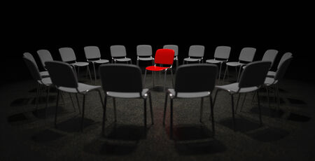 limelight: A red chair in the center of many grey chairs metaphor for center of attention and limelight Stock Photo