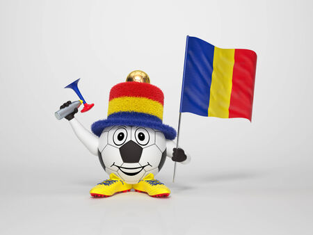 rumania: A cute and funny soccer character holding the national flag of Romania and a horn dressed in the colors of Romania on bright background supporting his team Stock Photo