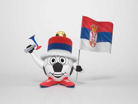 A cute and funny soccer character holding the national flag of Serbia and a horn dressed in the colors of Serbia on bright background supporting his team photo
