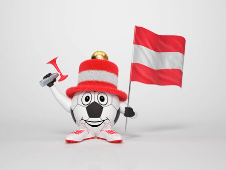 mozart: A cute and funny soccer character holding the national flag of Austria and a horn dressed in the colors of Austria on bright background supporting his team