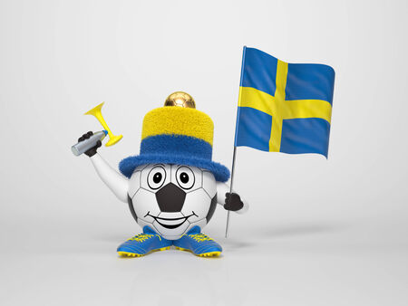 A cute and funny soccer character holding the national flag of Sweden and a horn dressed in the colors of Sweden on bright background supporting his team photo