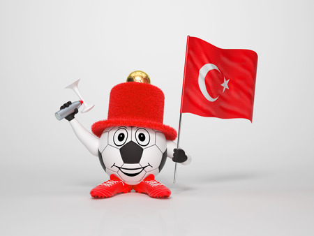 A cute and funny soccer character holding the national flag of Turkey and a horn dressed in the colors of Turkey on bright background supporting his team photo