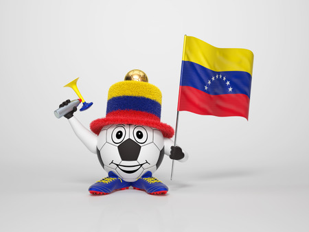 A cute and funny soccer character holding the national flag of Venezuela and a horn dressed in the colors of Venezuela on bright background supporting his team photo
