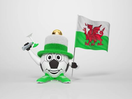 welsh: A cute and funny soccer character holding the national flag of Wales and a horn dressed in the colors of Wales on bright background supporting his team