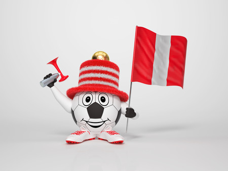 A cute and funny soccer character holding the national flag of Peru and a horn dressed in the colors of Peru on bright background supporting his team Stock Photo