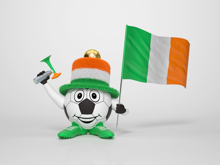 A cute and funny soccer character holding the national flag of Ireland and a horn dressed in the colors of Ireland on bright supporting his team photo