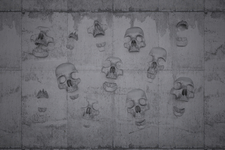 doom: Skulls on a wall of concrete symbol for doom and despair