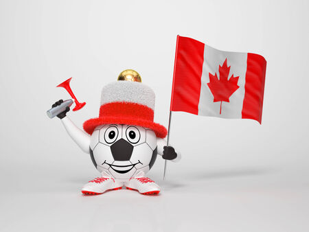 A cute and funny soccer character holding the national flag of Canada and a horn dressed in the colors of Canada on bright background supporting his team photo