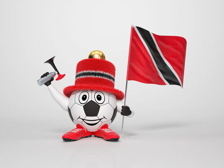trinidadian: A cute and funny soccer character holding the national flag of Trinidad and Tobago and a horn dressed in the colors of Trinidad and Tobago on bright background supporting his team