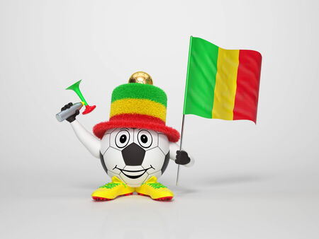 A cute and funny soccer character holding the national flag of Mali and a horn dressed in the colors of Mali on bright background supporting his team photo