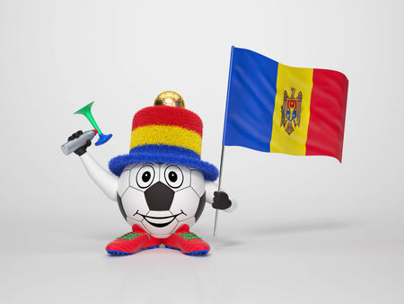 moldovan: A cute and funny soccer character holding the national flag of Moldova and a horn dressed in the colors of Moldova on bright background supporting his team