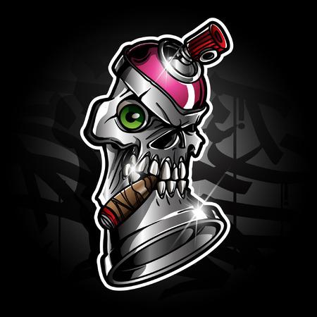spray paint with skull face illustration