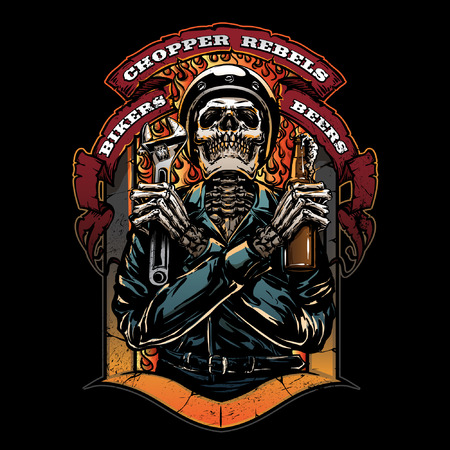 Vintage motorcycle club illustration  イラスト・ベクター素材