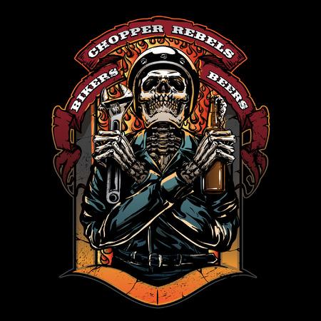 Vintage motorcycle club illustration Ilustrace