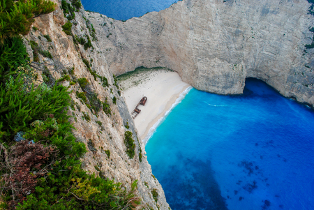Navagio Beach, or Shipwreck Beach, is an exposed cove, sometimes referred to as