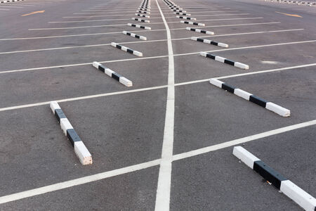 White lines   Empty parking lot Stock Photo