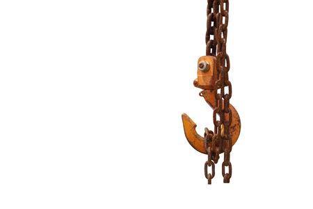 overhead crane: Rusty crane hook on isolated white background Stock Photo