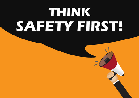 annoucement: Hand holding megaphone to speech - Think safety first Illustration