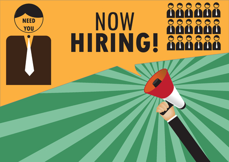 Hand holding megaphone to speech - We are hiring Illustration