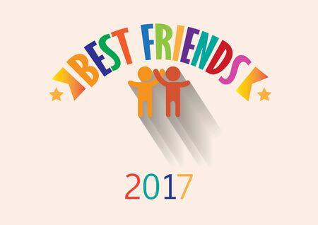 Best friend with flat human logo, postcard Иллюстрация