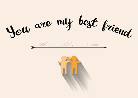 Best friend forever with timeline concept, flat human logo