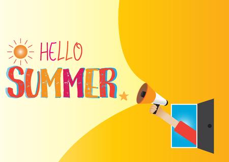 Hand holding megaphone to speech, Hello summer Иллюстрация