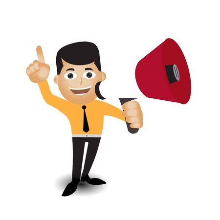 Man holding megaphone to speech, Speech template