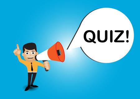 Man holding megaphone to speech, Quiz template