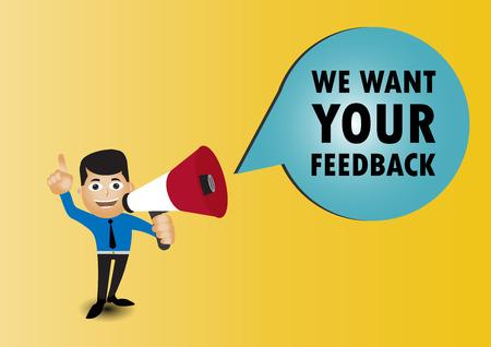 Man holding megaphone to speech, We want your feedback Иллюстрация