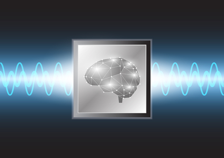 Abstract technology brain on micro processor background, Vector EPS.10
