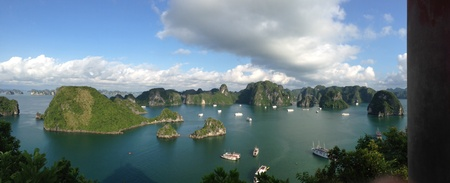 dao: View of Halong Bay from the peak of Dao Ti Top island Vietnam.