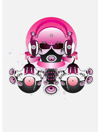 music machine:  Fantastic DJ with glasses and headphones. Drawing can be used on CD and posters. Illustration