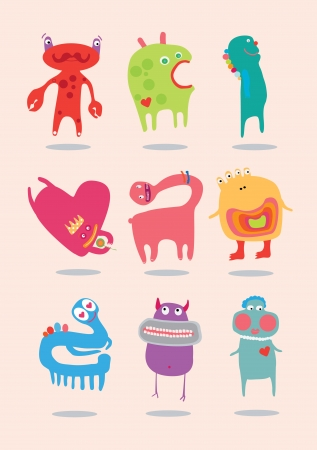 Just funny monsters for children. Vector
