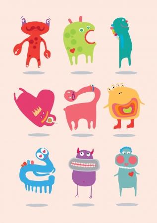 pattern monster: Mostri solo divertente per i bambini. Vettoriali