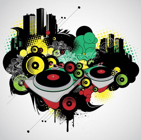Urban musical vector with vinyl players. Vector