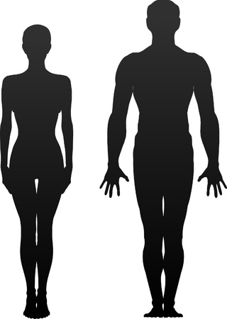 body silhouette: Man and woman