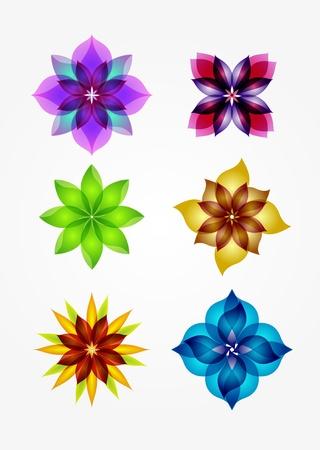 grande e piccolo: 6 elementi di design fiori Vettoriali