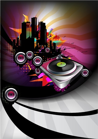 Music poster with vinyl player Vector