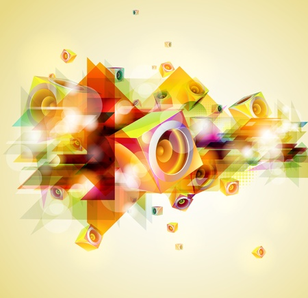 electronic music: abstract music background Illustration