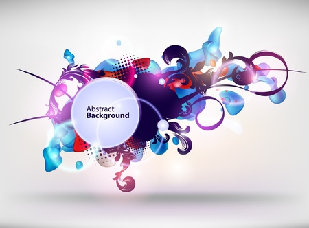 artistic flower: Abstract retro banner