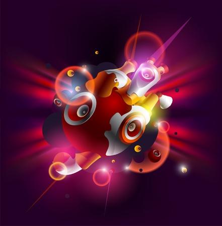 dancing disco: Vector abstract Loudspeakers