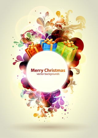 open gift: Christmas colorful banner
